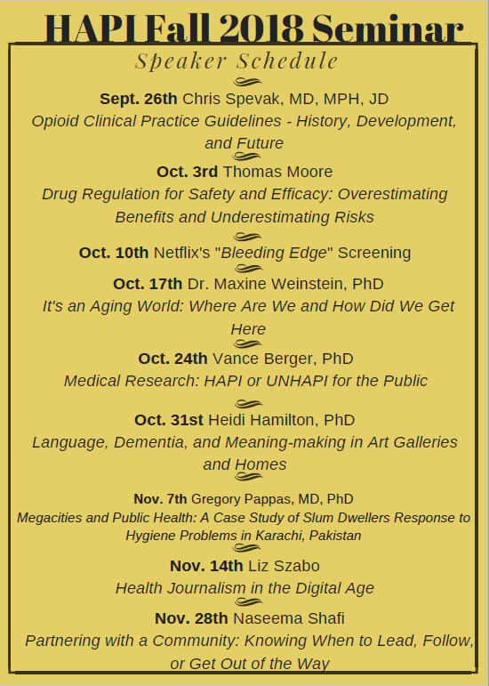 HAPI Fall 2018 Seminar Schedule